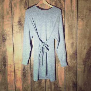 Topshop tie front sweater dress